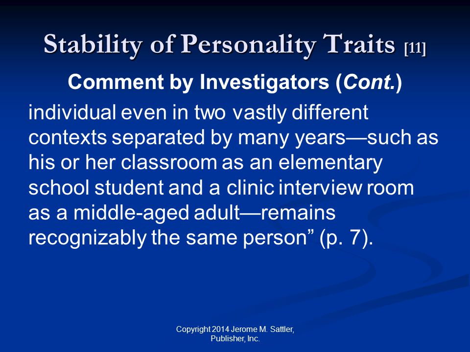 Stability of Personality Traits [11]